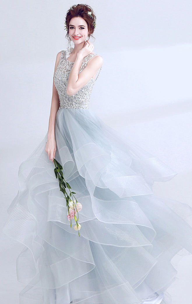 Gorgeous A-line Light Blue Evening Dress V Neck Tulle Long Formal Dress LFNC0206