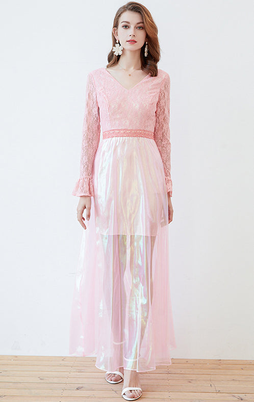 Newest A-line Pink Long Sleeve Lace Long Formal Dress LFNC0025
