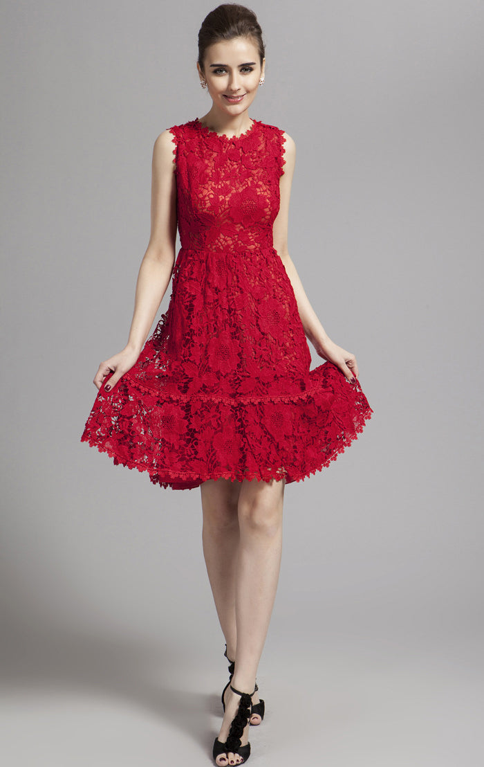 2021 A-line Red Sleeveless Lace Short Formal Dress LFNC0021