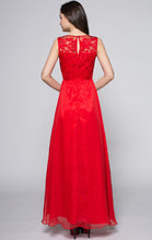 Load image into Gallery viewer, Newest A-line Red Sleeveless Lace Long Formal Dress LFNC0033