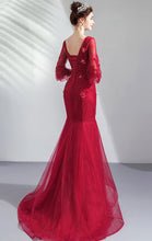 Load image into Gallery viewer, 2021 Mermaid Red Evening Dress Round Neck Tulle Long Formal Dress LFNC0271