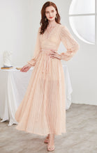 Load image into Gallery viewer, Gorgeous A-line Pink Evening Dress V Neck Chiffon Tassel Long Formal Dress LFNC0116