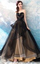 Load image into Gallery viewer, Beautiful A-line Black Evening Dress Sweatheart Neck Tulle Long Formal Dress LFNC0270
