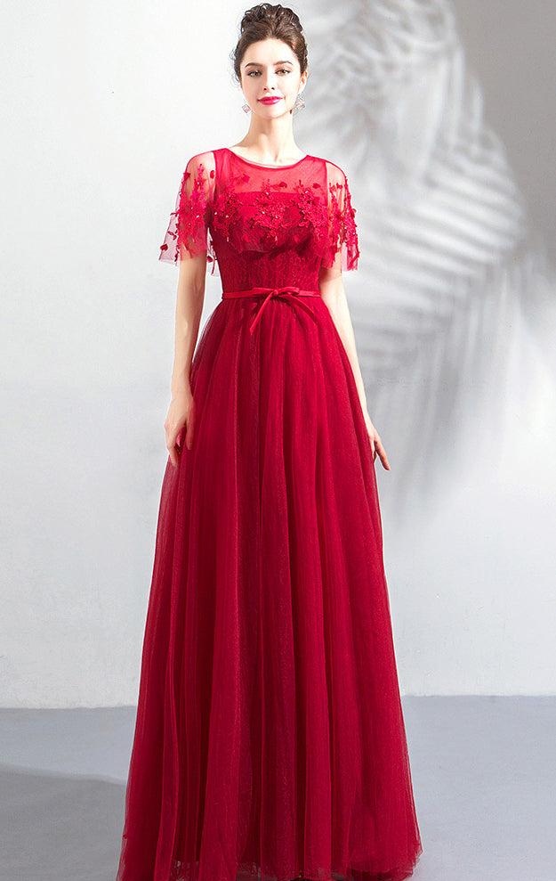 Elegant A-line Red Evening Dress Round Neck Tulle Long Formal Dress LFNC0294