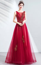 Load image into Gallery viewer, Gorgeous A-line Red Evening Dress V Neck Organza Long Formal Dress LFNC0185