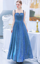 Load image into Gallery viewer, Simple A-line Navy Blue Evening Dress Straps Sequins Long Formal Dress LFNC0242