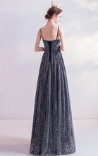 Load image into Gallery viewer, Simple A-line Black Evening Dress Straps Organza Long Formal Dress LFNC0196