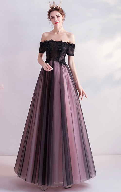 2021 A-line Black Evening Dress Off Shoulder Organza Long Formal Dress LFNC0257