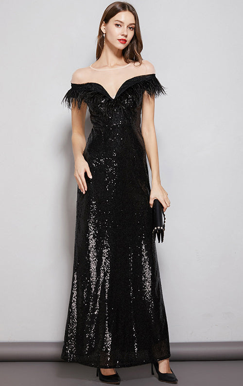 Beautiful A-line Black Evening Dress Round Neck Sequins Long Formal Dress LFNC0120