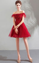 Load image into Gallery viewer, Simple A-line Red Evening Dress Off Shoulder Feather Short Formal Dress LFNC0173