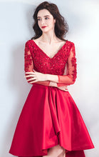 Load image into Gallery viewer, Elegant A-line Red Evening Dress V Neck Satin High Low Formal Dress LFNC0209