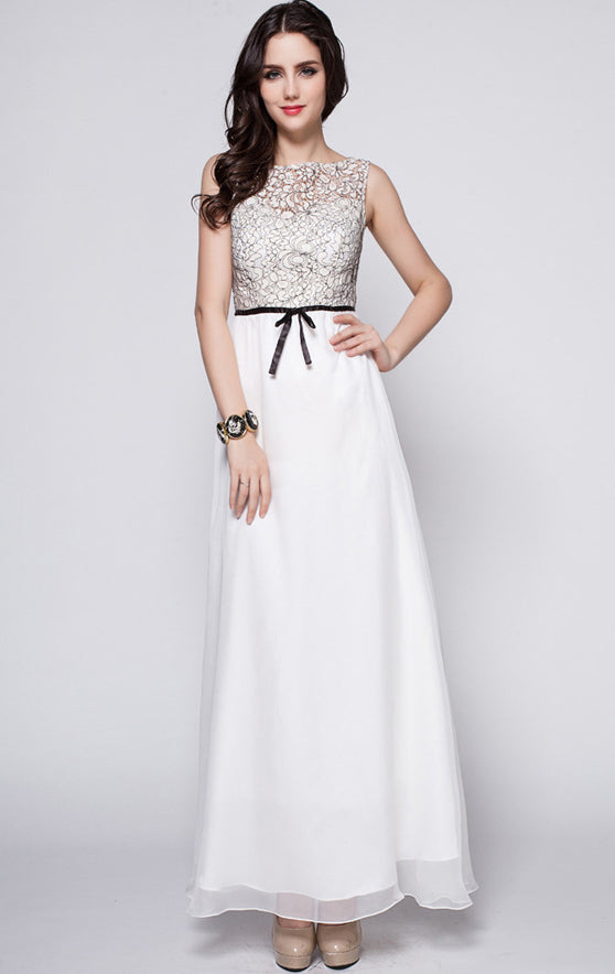 2021 A-line White Bridesmaid dress Strapless Lace Long Formal Dress LFNC0098