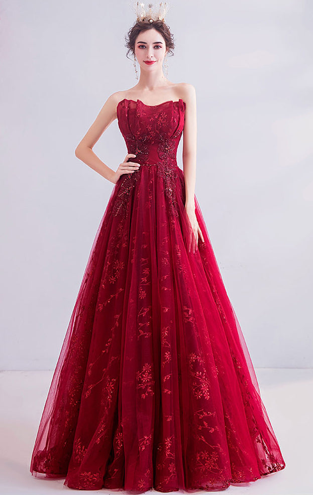 2021 A-line Red Evening Dress Strapless Organza Long Formal Dress LFNC0145