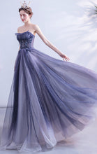 Load image into Gallery viewer, Newest A-line Gradient Blue Evening Dress Sweatheart Neck Organza Long Formal Dress LFNC0223