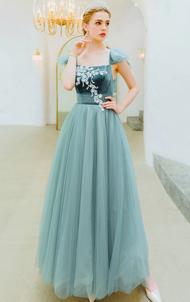 Gorgeous A-line Green Evening Dress Square Collar Organza Long Formal Dress LFNC0267