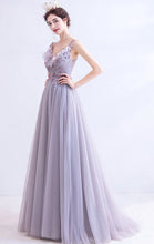 Load image into Gallery viewer, 2021 A-line Purple Evening Dress Straps Organza Long Formal Dress LFNC0250