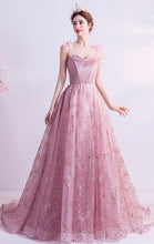 Load image into Gallery viewer, Elegant A-line Pink Evening Dress Straps Organza Long Formal Dress LFNC0202