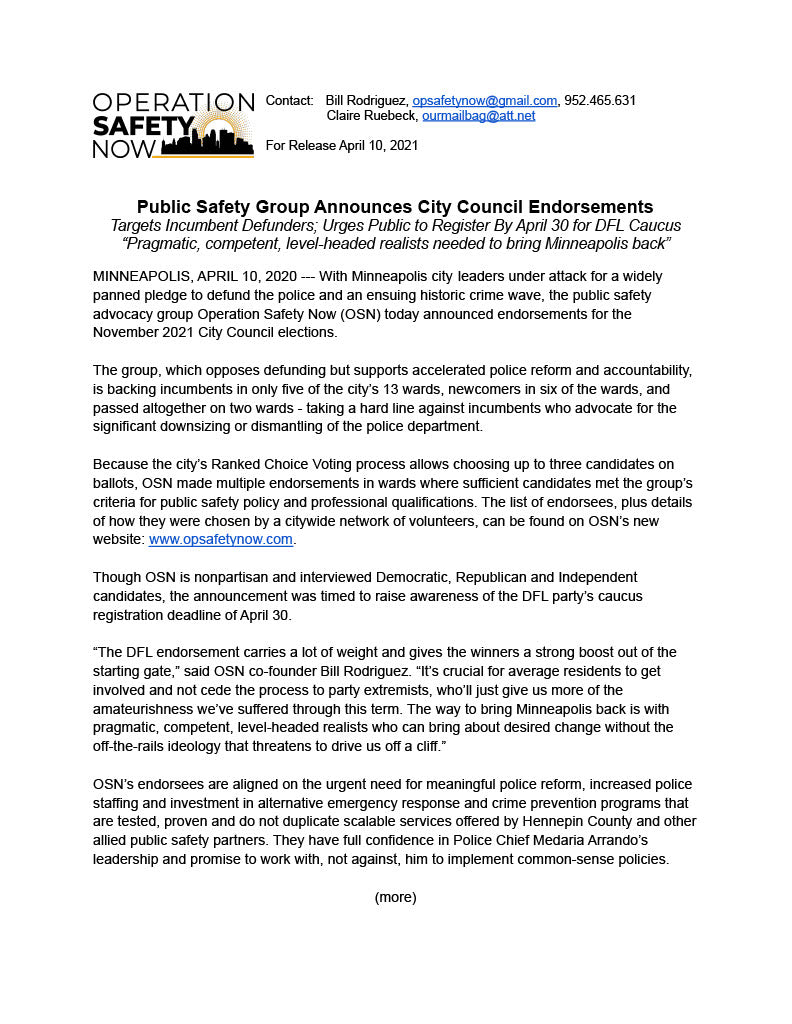 Operation Safety Now Press Release p. 1