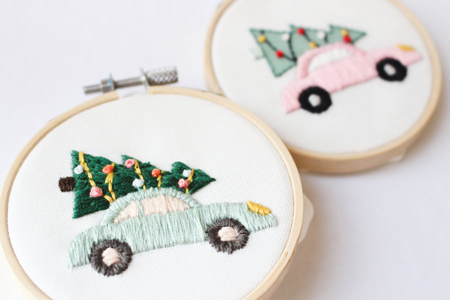 Vintage Christmas car embroidery