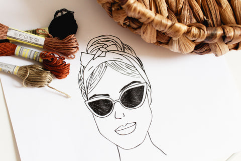 women with sunglasses embroidery pattern