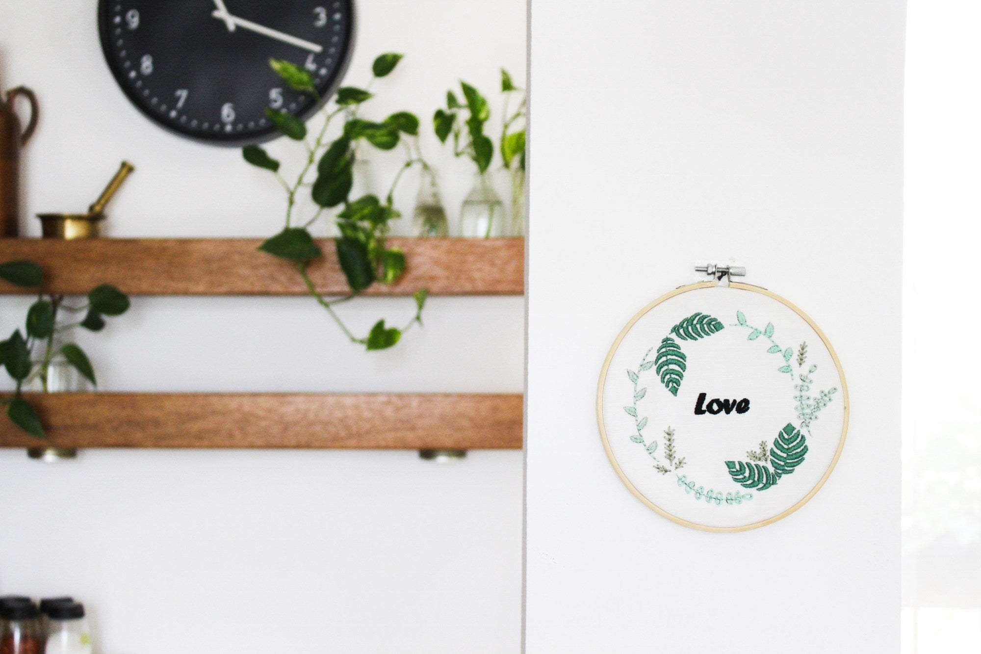 Greenery leaves embroidery pattern