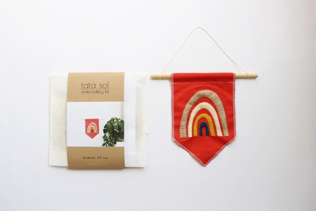 rainbow embroidery banner
