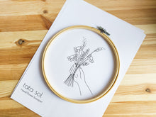 Load image into Gallery viewer, Hand with flower bouquet embroidery pattern
