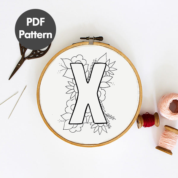 Letter X embroidery pattern