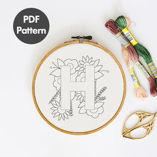 Load image into Gallery viewer, Letter H embroidery pattern