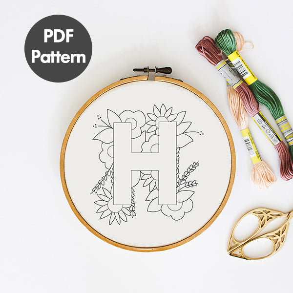 Letter H embroidery pattern