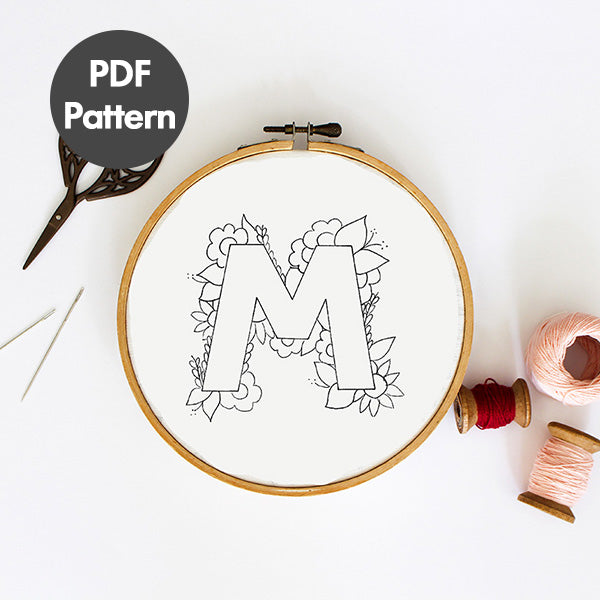 Letter M embroidery pattern