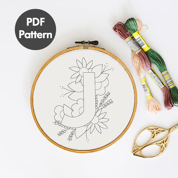 letter J embroidery pattern