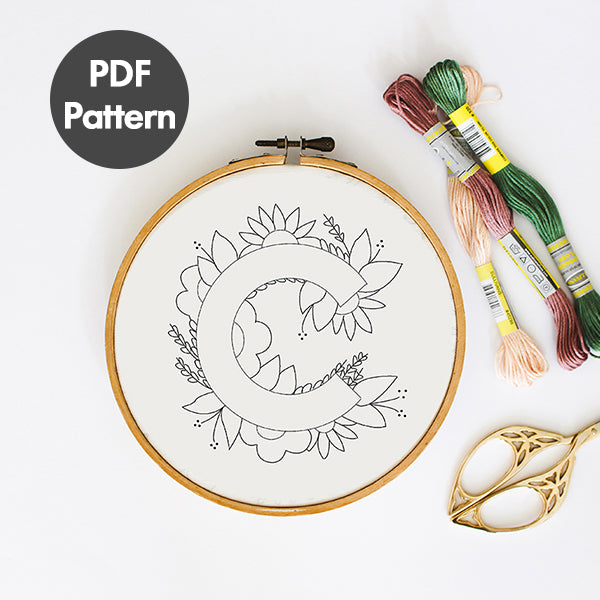letter C embroidery pattern