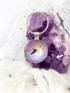 Let go and Fly Glass Pendant Keyring