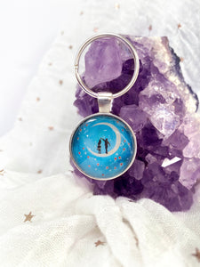Love is in the Air Glass Pendant Keyring