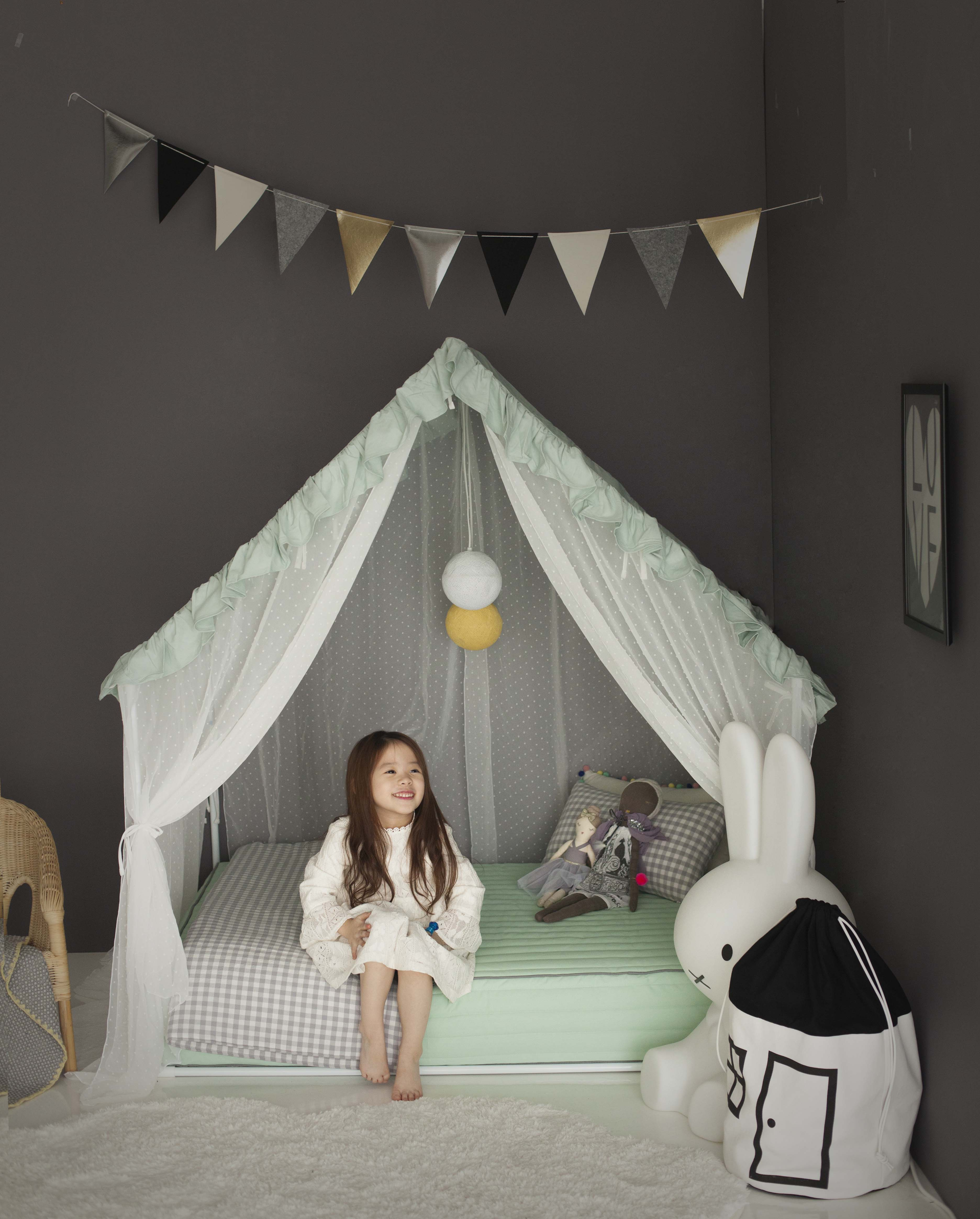 Petite Maison Kids Bed Mint Frill Canapy