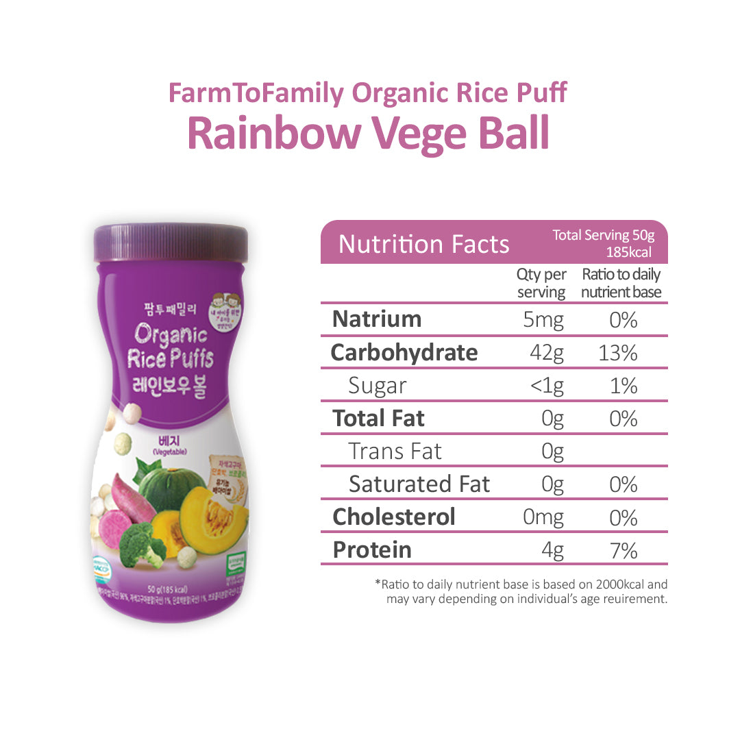 Farmtobaby organic rice puffs ball from Korea
