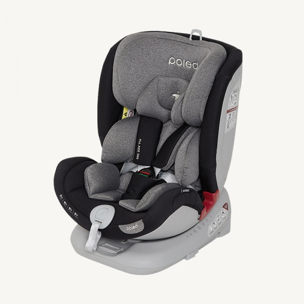 Poled ALL AGE 360 Swivel Car Seat | Satin Gray [0m-12yo]