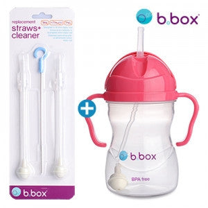 B.Box Sippy Cup + Replacement Straw & Brush Set (Raspberry)