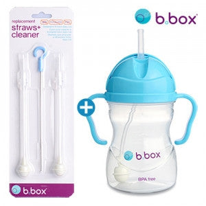 B.Box Sippy Cup + Replacement Straw & Brush Set (Blueberry)