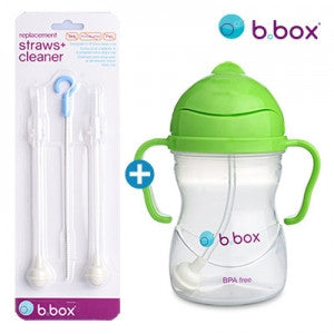 B.Box Sippy Cup + Replacement Straw & Brush Set (Apple)