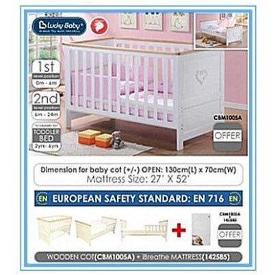 Lucky Baby Convertible Cot + i-Breathe CBM1005A+142585