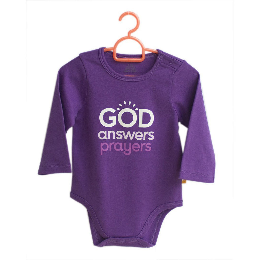 God Answers Prayers onesies for babies by Glorious Seed your source of Christian inspired baby and children clothes