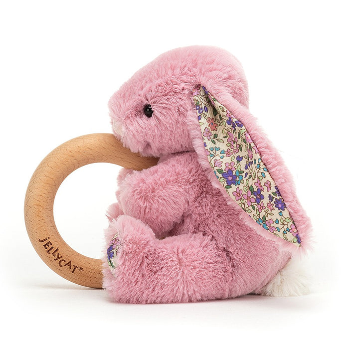 JellyCat Blossom Tulip Bunny Wooden Ring Toy