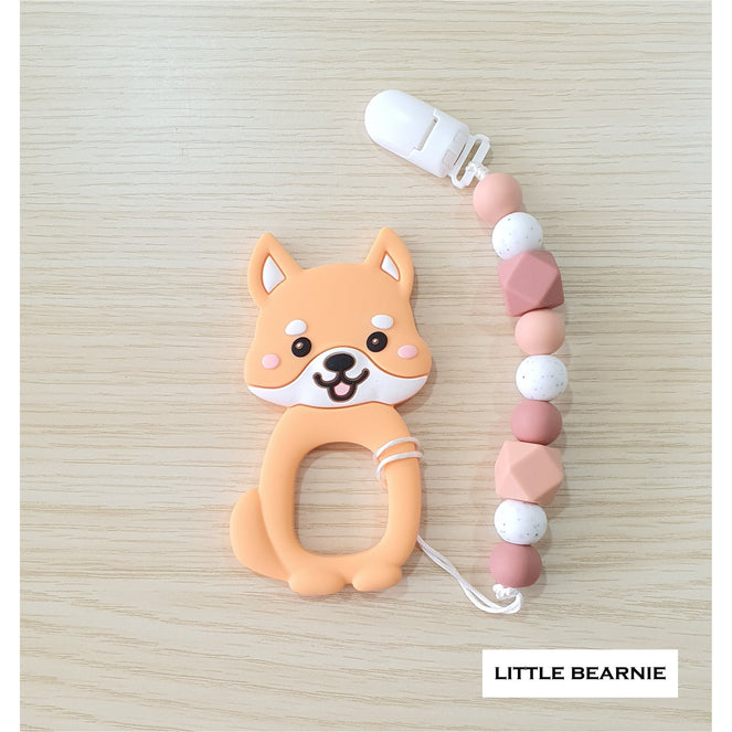 Little Bearnie Modern Baby Teether Clip Set - Cutie Shiba (Apricot)