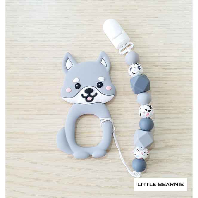 Little Bearnie Modern Baby Teether Clip Set - Cutie Shiba (Grey)