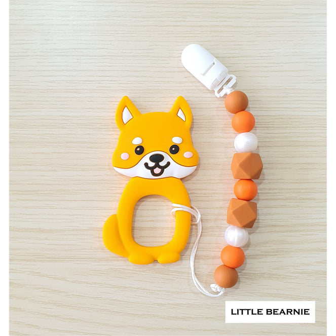 Little Bearnie Modern Baby Teether Clip Set - Cutie Shiba (Orange)