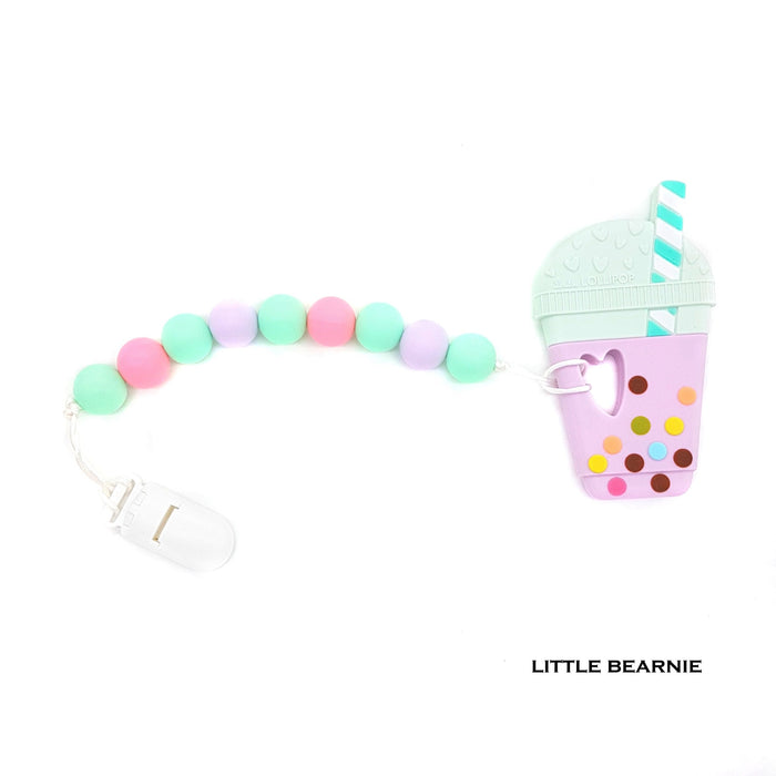 Little Bearnie Modern Baby Teether Clip Set -  Bubble Tea (Taro)