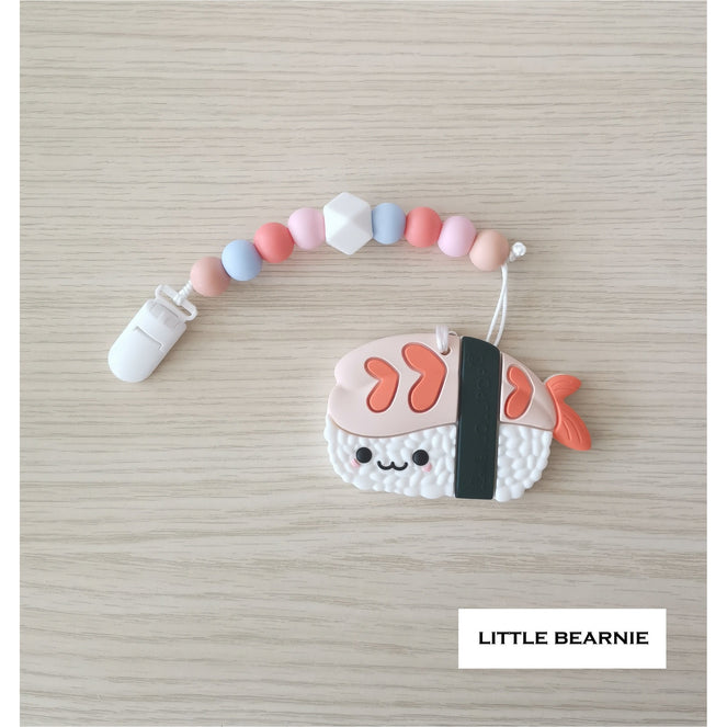 Little Bearnie Modern Baby Teether Clip Set - Kawaii Ebi Sushi