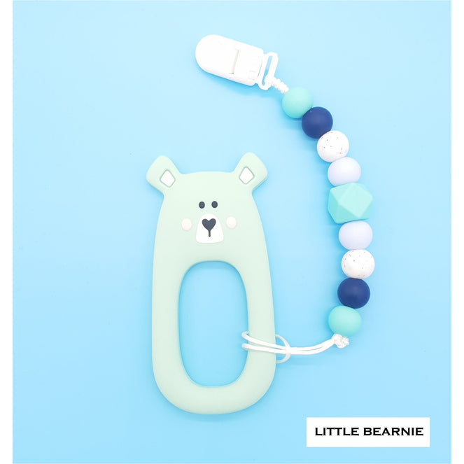 Little Bearnie Modern Baby Teether Clip Set - Shy Bear (Mint)